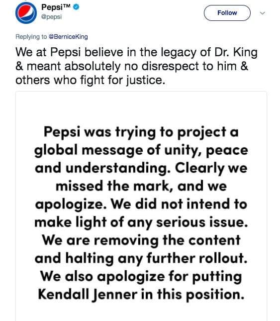 Pepsi apologized on Twitter