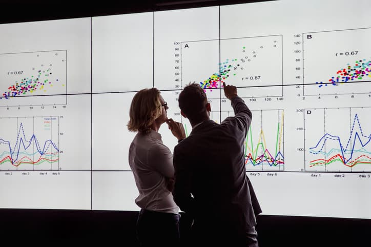 people pointing to graphs with data