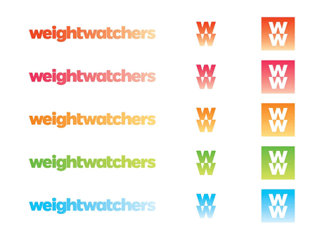 different set of coloured Weight Watchers logos