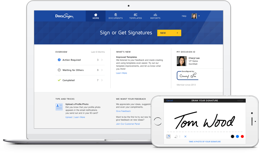 mock up productivity tool DocuSign