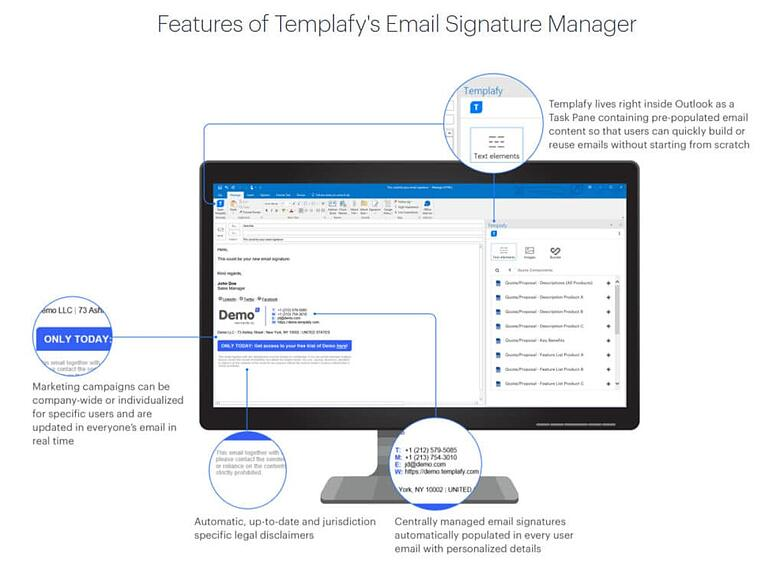 features of Templafy Email Signature Manager