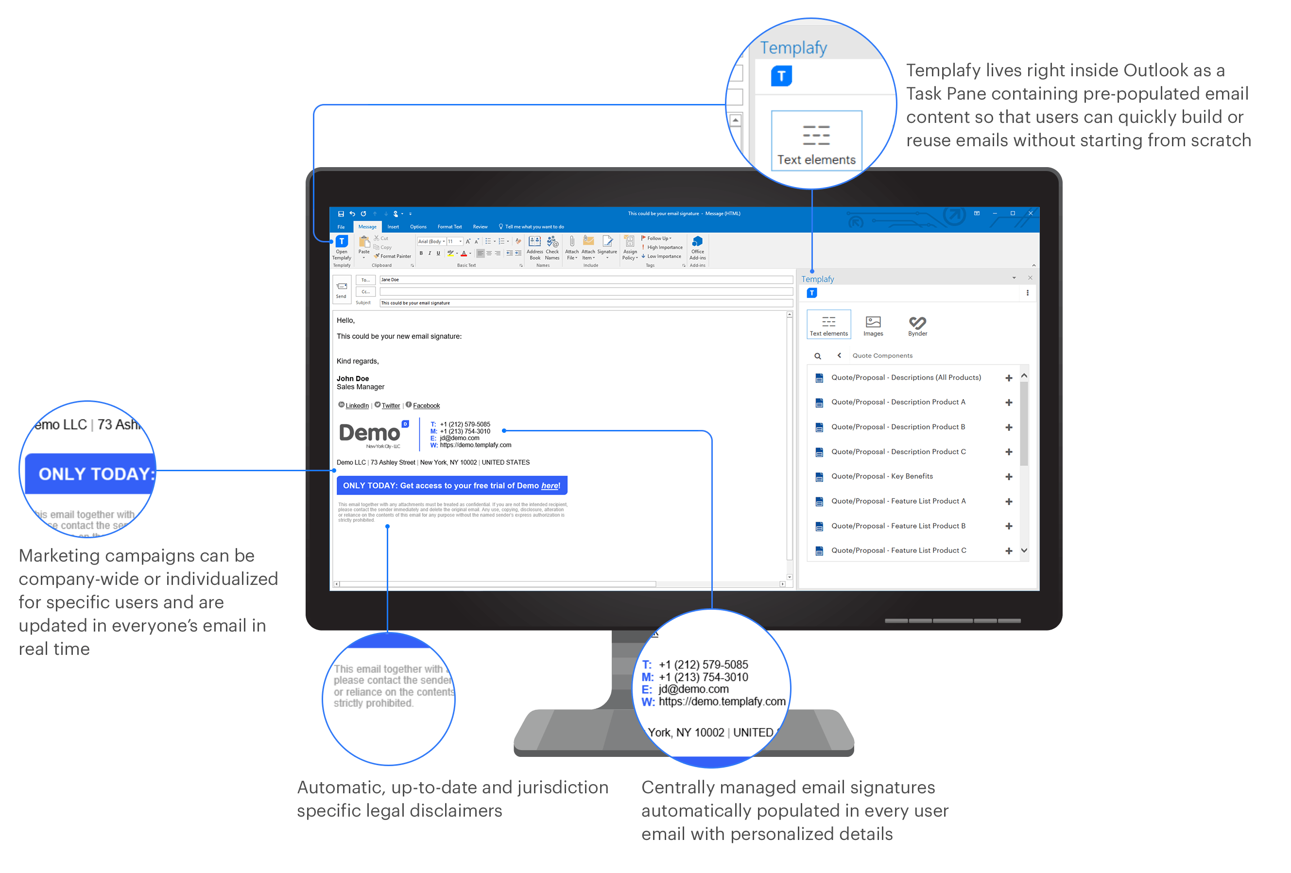 Templafy email productivity explained on desktop