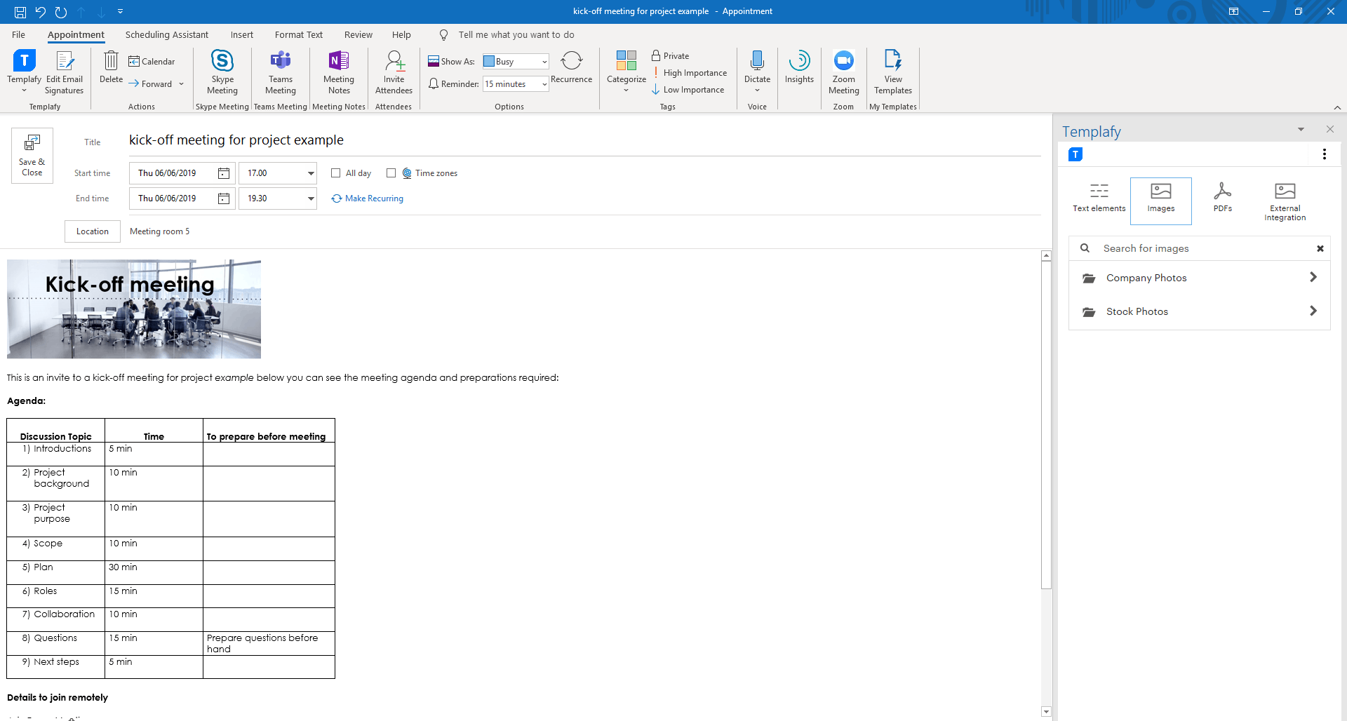 templafy library in outlook calendar