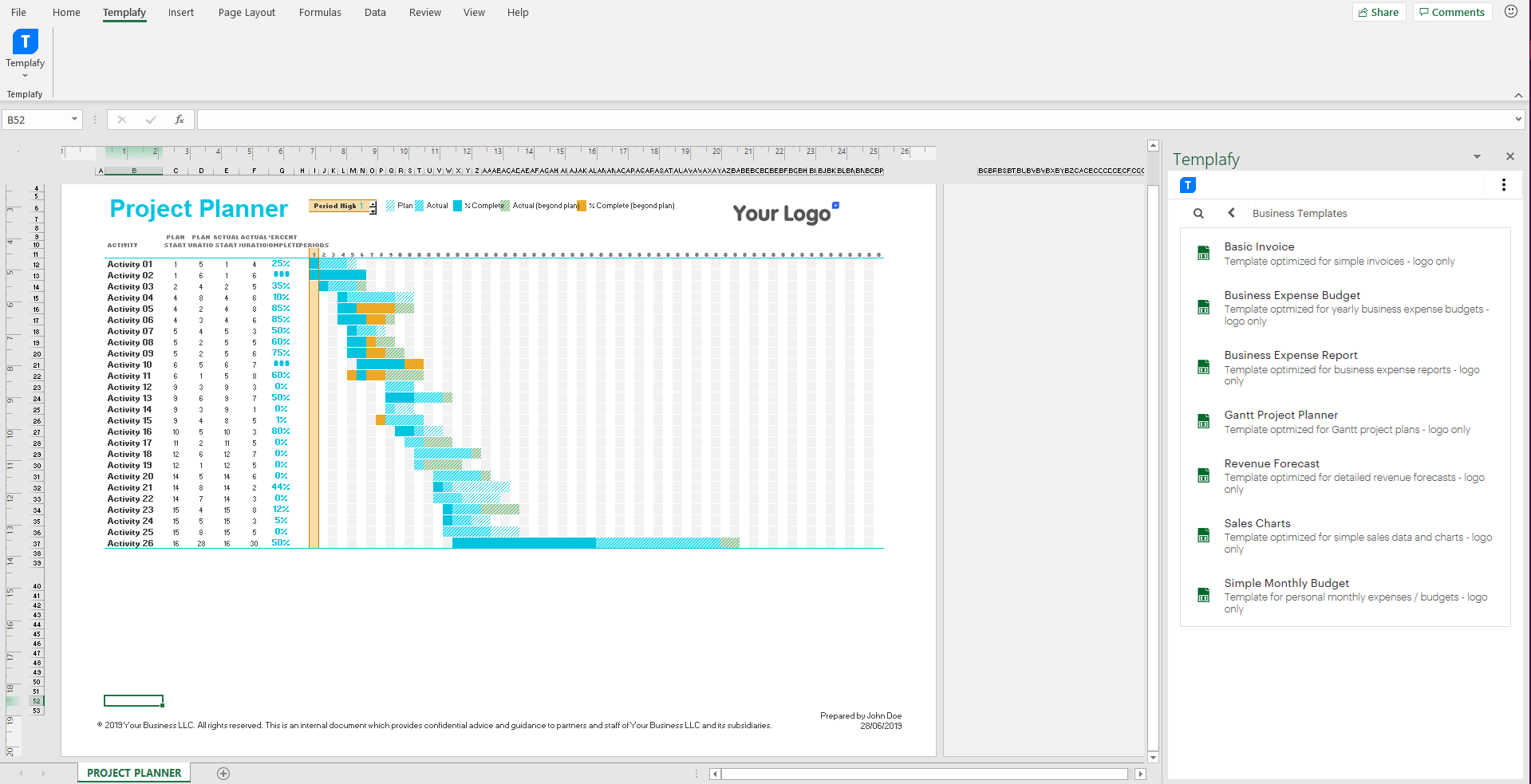 Screenshot of Templafy Dynamics in Excel