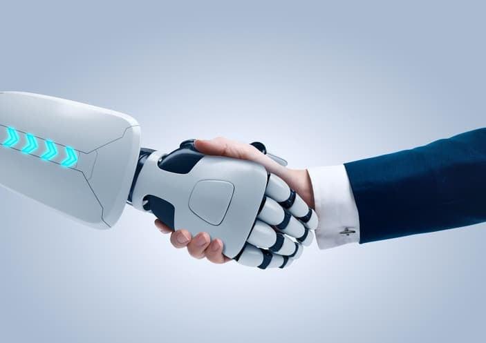 robot and human shake hands